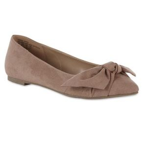 Anthro Metaphor Brit Suede Bow Flats in Mauve